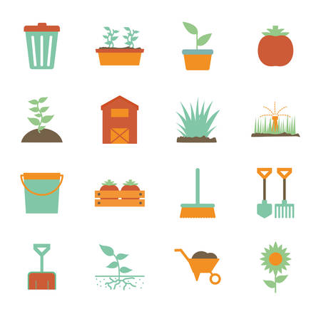 flat style icon set design, Gardening garden planting nature ecology outdoors and botany theme Vector illustration Иллюстрация