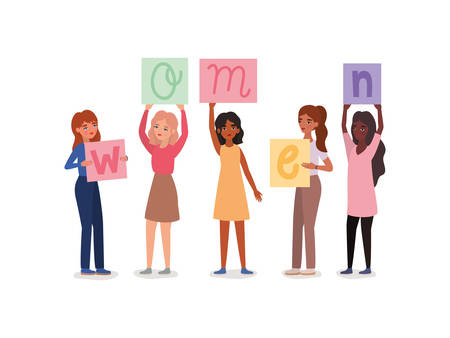 Women avatars holding banners design of empowerment female power feminist people gender feminism young rights protest and strong theme Vector illustration