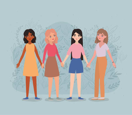 Women avatars holding hands design of empowerment female power feminist people gender feminism young rights protest and strong theme Vector illustration