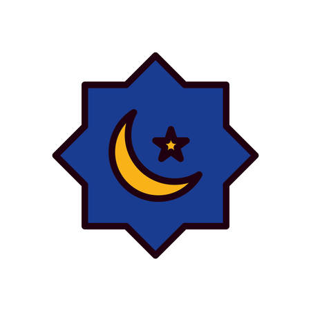 Ramadan moon and star line and fill style icon design, Islamic muslim religion culture belief religious faith god spiritual meditation and traditional theme Vector illustration