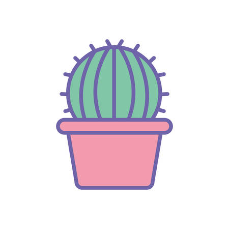 Cactus inside pot line and fill style icon design, Plant desert nature tropical summer mexico and western theme Vector illustration Vettoriali