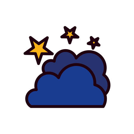cloud and stars line and fill style icon design, Night bedtime sky space nature science celestial galaxy and astrology theme Vector illustration