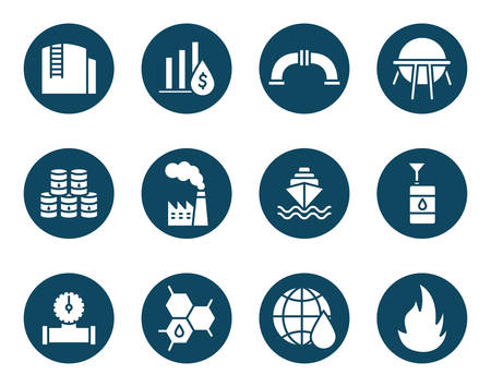 Oil industry block and flat style icon set design, Gas energy fuel technology power industrial production and petroleum theme Vector illustration