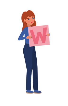 Woman with banner design of Women empowerment female power feminist people gender feminism young rights protest and strong theme Vector illustration