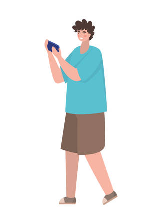 Boy with smartphone design, Youth culture people cool person human profile and user theme Vector illustration