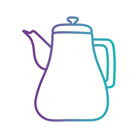 Tea or coffee kettle gradient style icon design, Cook kitchen Eat food restaurant home menu dinner lunch cooking and meal theme Vector illustration