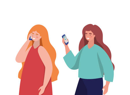 Girls with smartphones design, Youth culture people cool person human profile and user theme Vector illustration