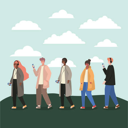 Girls and boys with smartphones and clouds design, Youth culture people cool person human profile and user theme Vector illustration