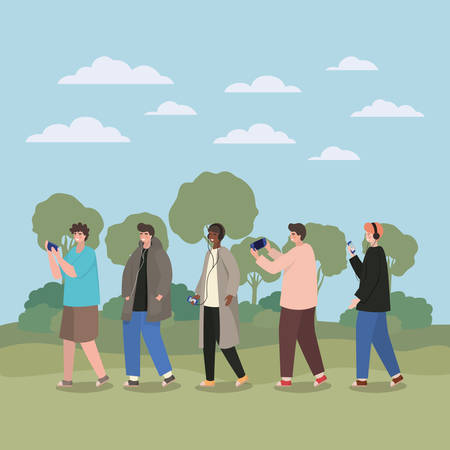 Boys with smartphones at park design, Youth culture people cool person human profile and user theme Vector illustration 向量圖像