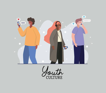 Boys and girl with smartphones and bubbles design, Youth culture people cool person human profile and user theme Vector illustration