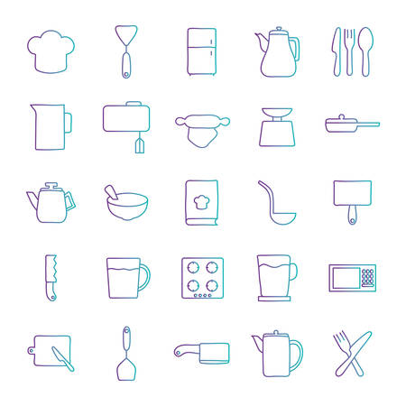 gradient style icon set design, Cook kitchen decorative elements eat food restaurant home menu dinner lunch cooking and meal theme Vector illustration