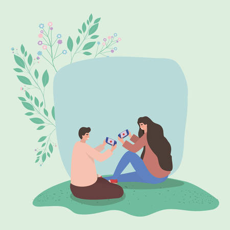 Girl and boy with smartphones and leaves design, Youth culture people cool person human profile and user theme Vector illustration