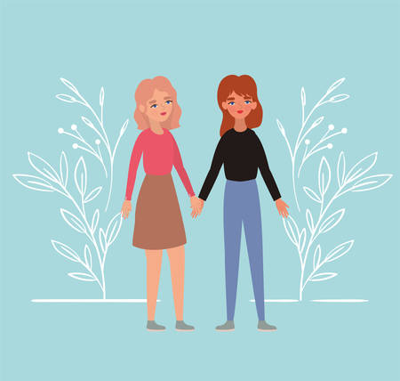Women holding hands and leaves design of empowerment female power feminist people gender feminism young rights protest and strong theme Vector illustration