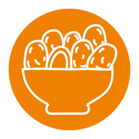 Ramadan dates bowl block line style icon design, Islamic muslim religion culture belief religious faith god spiritual meditation and traditional theme Vector illustration