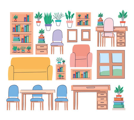 Living room objects set design, Home house decoration interior living building apartment and residential theme Vector illustration Vektorové ilustrace