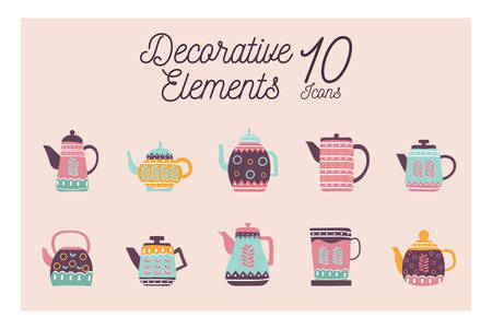 10 flat style icon set design, Cook kitchen decorative elements eat food restaurant home menu dinner lunch cooking and meal theme Vector illustration