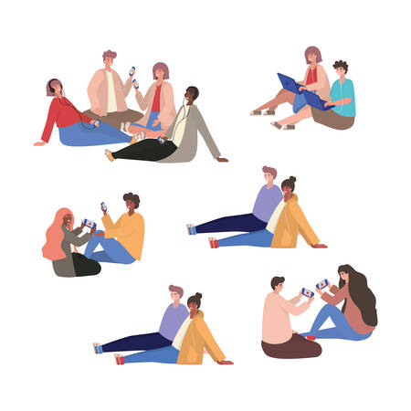 Girls and boys with smartphones design, Youth culture people cool person human profile and user theme Vector illustration 向量圖像