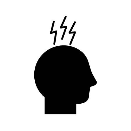 avatar head with headache symbol silhouette style icon design of Medical care hygiene health emergency aid exam clinic and patient theme Vector illustration
