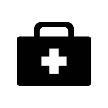 kit silhouette style icon design of Medical care hygiene health emergency aid exam clinic and patient theme Vector illustration