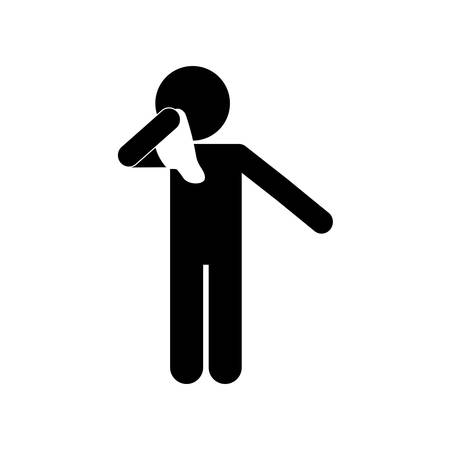 male avatar coughing with tissue silhouette style icon design of Medical care hygiene health emergency aid exam clinic and patient theme Vector illustration