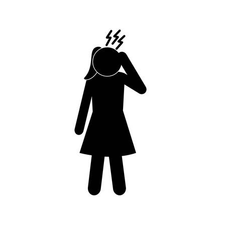 female avatar with headache silhouette style icon design of Medical care hygiene health emergency aid exam clinic and patient theme Vector illustration Ilustracja