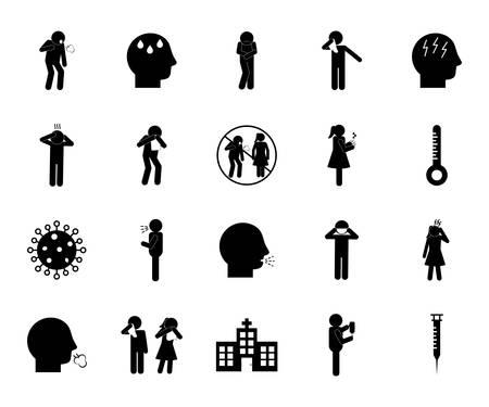 silhouette style icon set design of Covid 19 2019 ncov cov virus coronavirus infection corona epidemic disease symptoms and medical theme Vector illustration