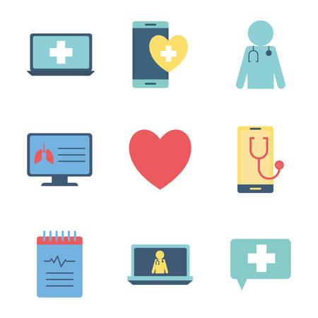Diseño de conjunto de iconos de estilo plano de la clínica de examen de ayuda de emergencia de atención médica en línea de salud y tema del paciente Ilustración vectorial Ilustración de vector