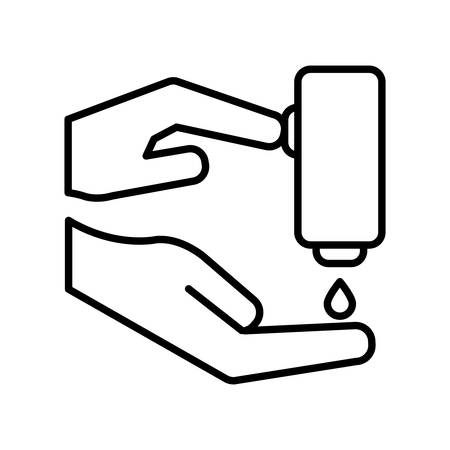 Hands and soap dispenser with cross line style icon design of Medical care hygiene health emergency aid exam clinic and patient theme Vector illustration