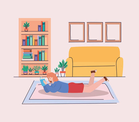 Girl with book at home design, Youth culture people cool person human profile and user theme Vector illustration