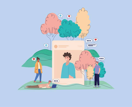 Boy picture trees bubbles and people with smartphones design, Youth culture cool person human profile and user theme Vector illustration