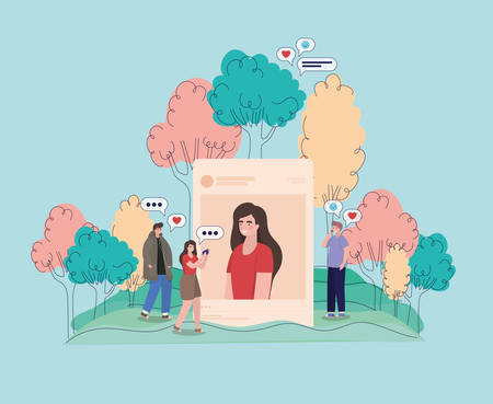 Girl picture trees bubbles and people with smartphones design, Youth culture cool person human profile and user theme Vector illustration