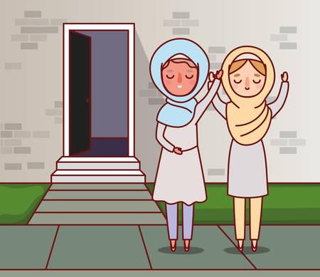 Muslims women cartoons celebrating ramadan eid mubarak outside house design, islamic religion culture belief religious faith god spiritual meditation and traditional theme Vector illustration