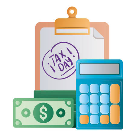 Tax day document bills and calculator of financial accoounting form revenue finance government income taxation refound and paying theme Vector illustration Ilustração Vetorial