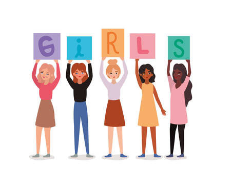 Women avatars holding girls text banners design of empowerment female power feminist people gender feminism young rights protest and strong theme Vector illustration