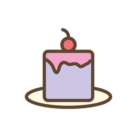 Sweet cake line and fill style icon design, dessert food delicious sugar snack and tasty theme Vector illustration
