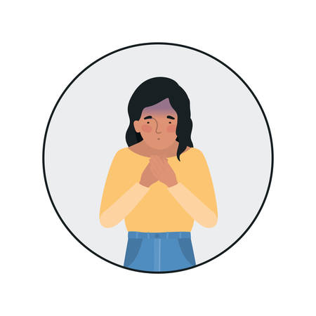 Avatar woman feeling sick dizzy and with nauseous design of Medical care hygiene health emergency aid exam clinic and patient theme Vector illustration Stock Illustratie