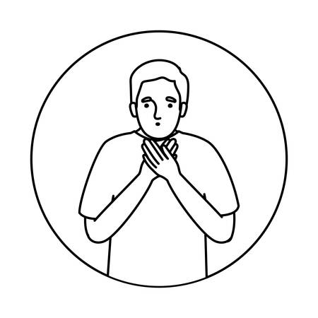 Avatar man feeling sick dizzy and with nauseous design of Medical care hygiene health emergency aid exam clinic and patient theme Vector illustration