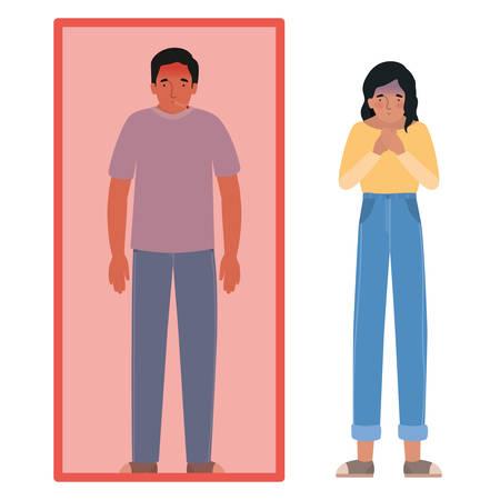 Avatar man en vrouw met koorts in quarantaine en misselijk ontwerp van medische zorg hygiëne gezondheid noodhulp examen kliniek en patiënt thema vectorillustratie
