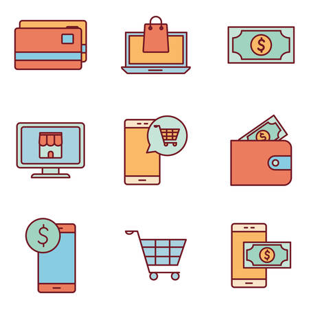line and fill style icon set of Payments online shopping money financial banking commerce market buy currency accounting and invest theme Vector illustration Ilustração
