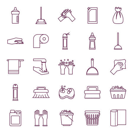 line style icon set design, Cleaning service items wash home hygiene equipment domestic interior housework and housekeeping theme Vector illustration