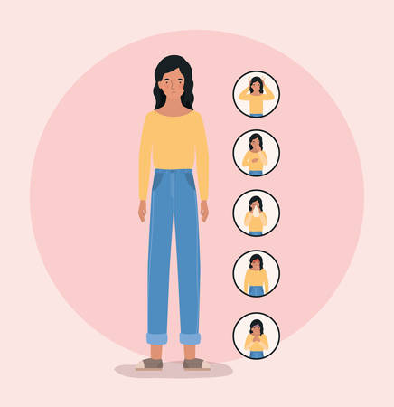 Avatar woman with 2019 ncov virus symptoms design of Covid 19 cov coronavirus infection corona epidemic disease symptoms and medical theme Vector illustration