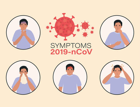 Avatar man with 2019 ncov virus symptoms design of Covid 19 cov coronavirus infection corona epidemic disease symptoms and medical theme Vector illustration