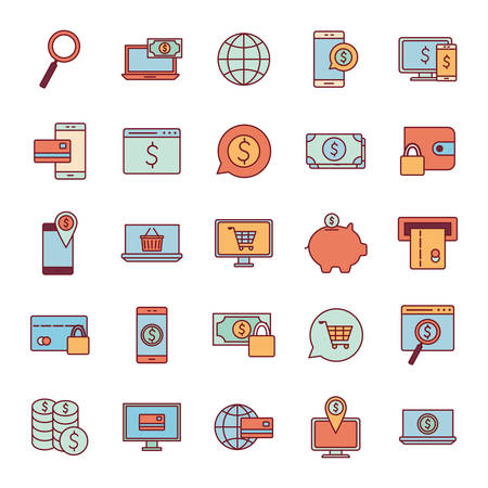 line and fill style icon set of Payments online shopping money financial banking commerce market buy currency accounting and invest theme Vector illustration