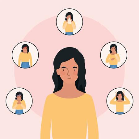 Avatar woman with 2019 ncov virus symptoms design of Covid 19 cov coronavirus infection corona epidemic disease symptoms and medical theme Vector illustration Stock Illustratie