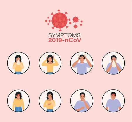 Woman and man with 2019 ncov virus symptoms design of Covid 19 cov coronavirus infection corona epidemic disease symptoms and medical theme Vector illustration Stock Illustratie