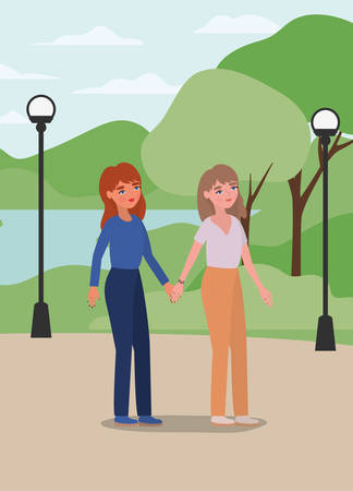 Women holding hands at park design of empowerment female power feminist people gender feminism young rights protest and strong theme Vector illustration