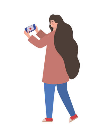 Girl with smartphone design, Youth culture people cool person human profile and user theme Vector illustration 向量圖像
