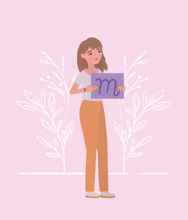 Woman with banner and leaves design of Women empowerment female power feminist people gender feminism young rights protest and strong theme Vector illustration