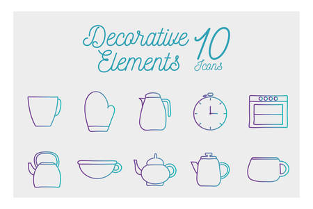 10 gradient style icon set design, Cook kitchen decorative elements eat food restaurant home menu dinner lunch cooking and meal theme Vector illustration