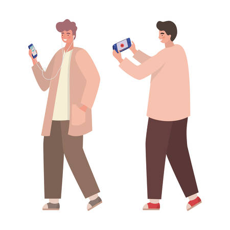 Boys with smartphones design, Youth culture people cool person human profile and user theme Vector illustration